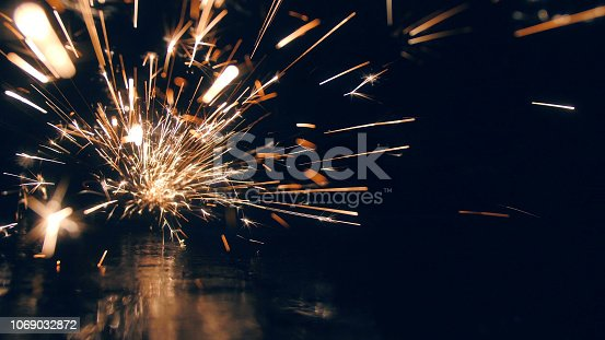 Steel workshop with sparks