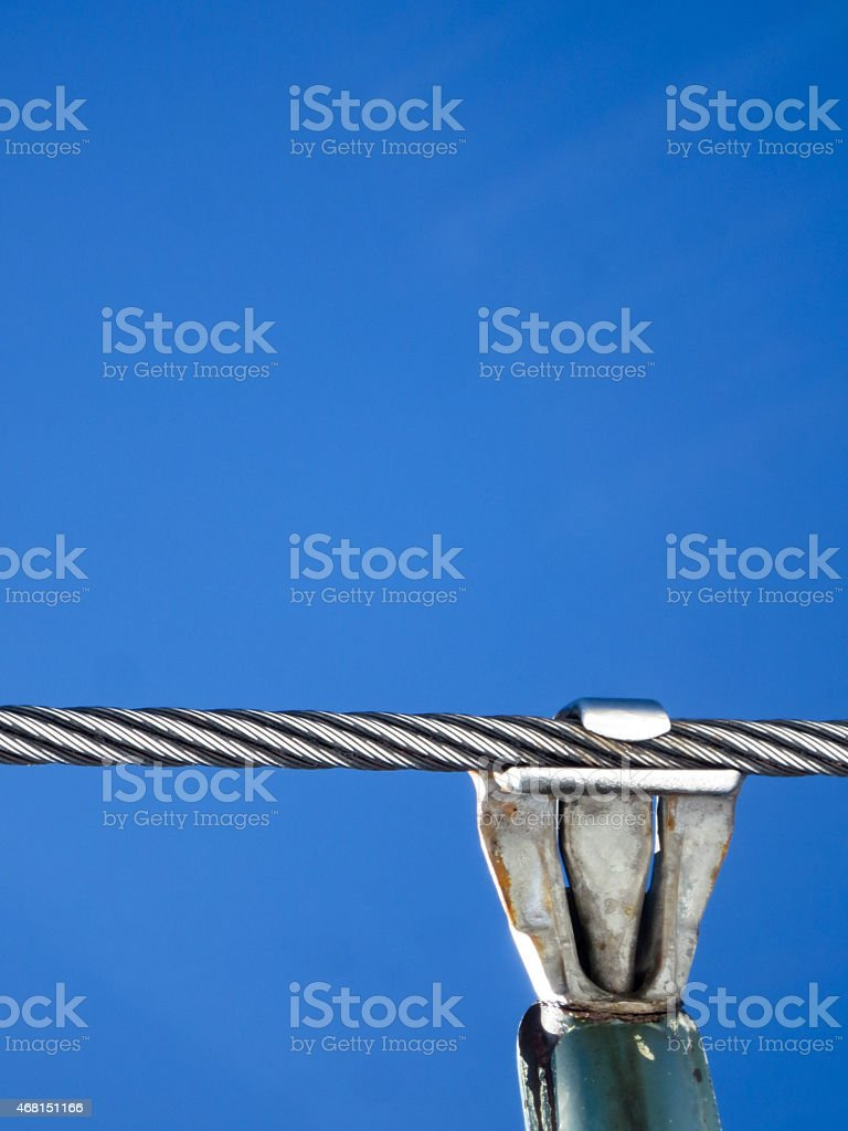 Steel woven cable and metal chair lift attachment stock photo