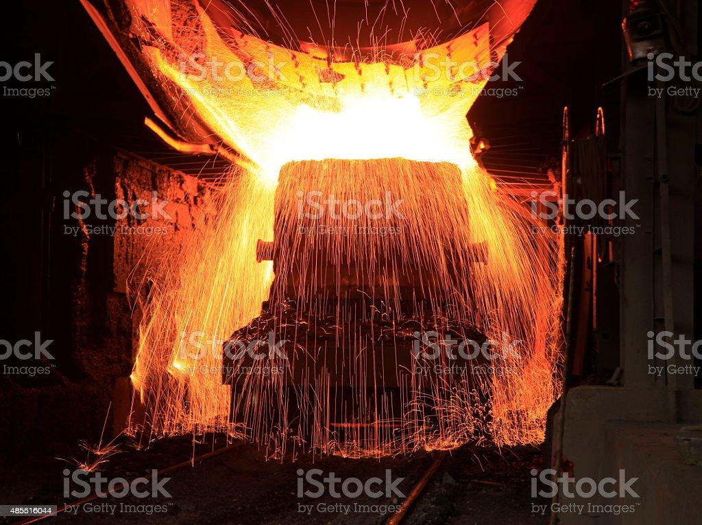 Steelmaking workshop stock photo