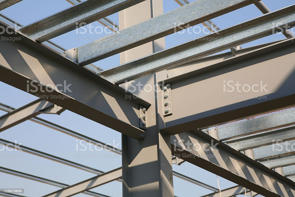 Steelwork planks connected in lines stock photo