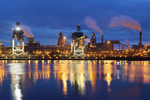 Steelworks at dusk stock photo
