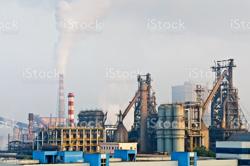 steelworks  smoke pollution stock photo