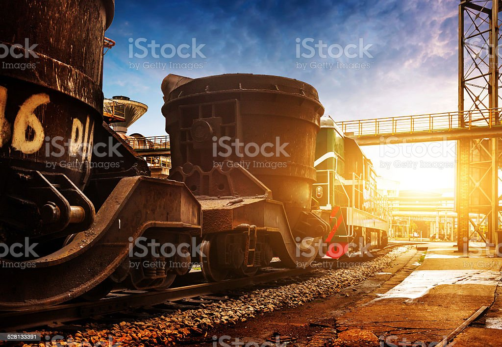 Steelworks train stock photo