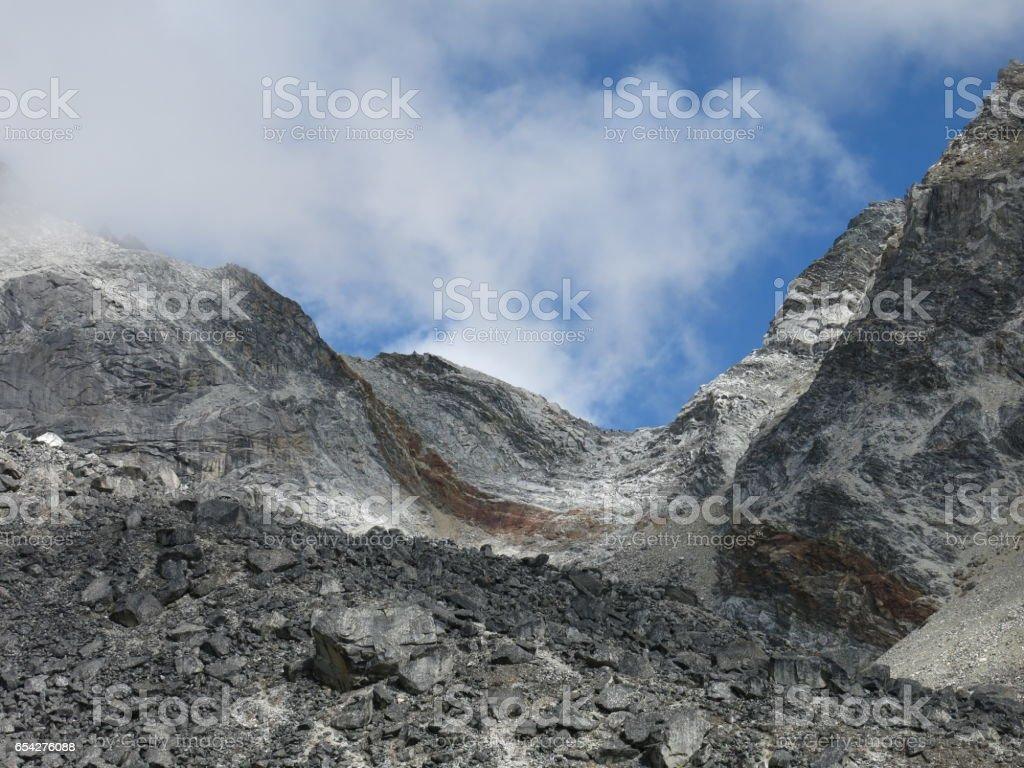 Steep Cho La mountain pass stock photo