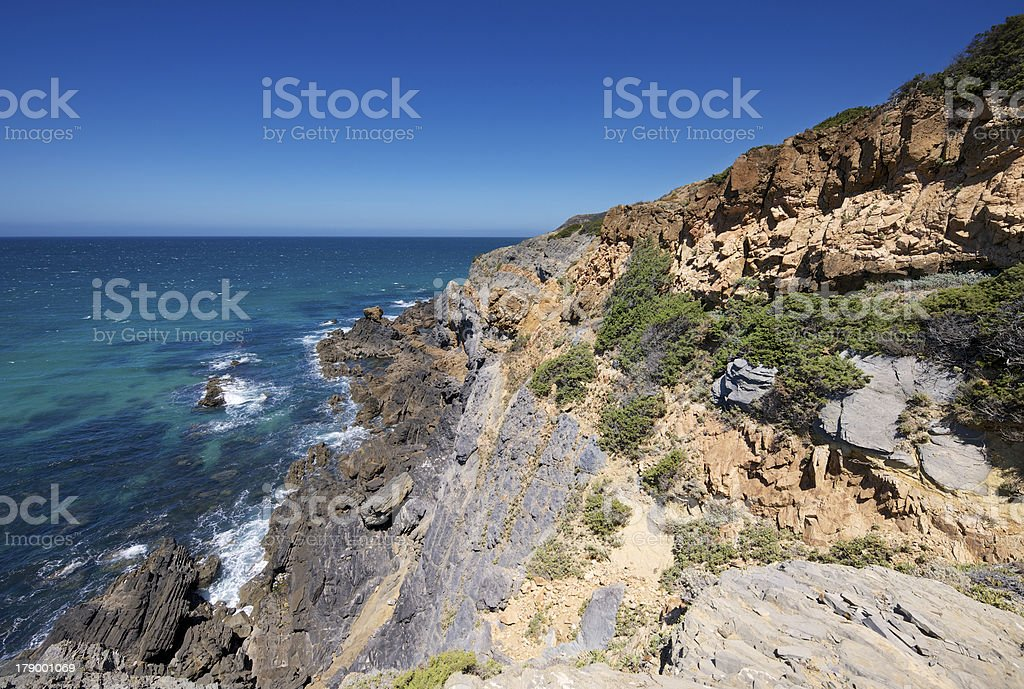 Steep cliffs and the Atlantic Ocean at coastline of Portugal royalty-free stock photo