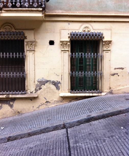 A steep hill in Barcelona. stock photo