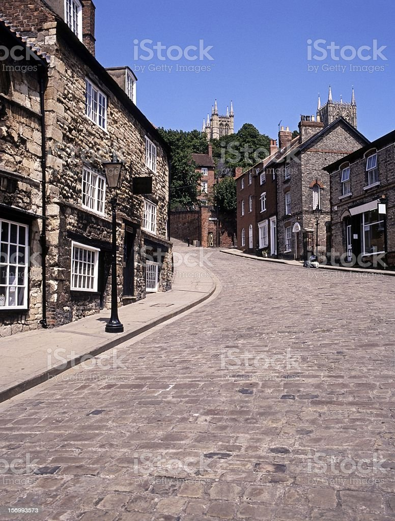 Steep Hill, Lincoln, England. stock photo