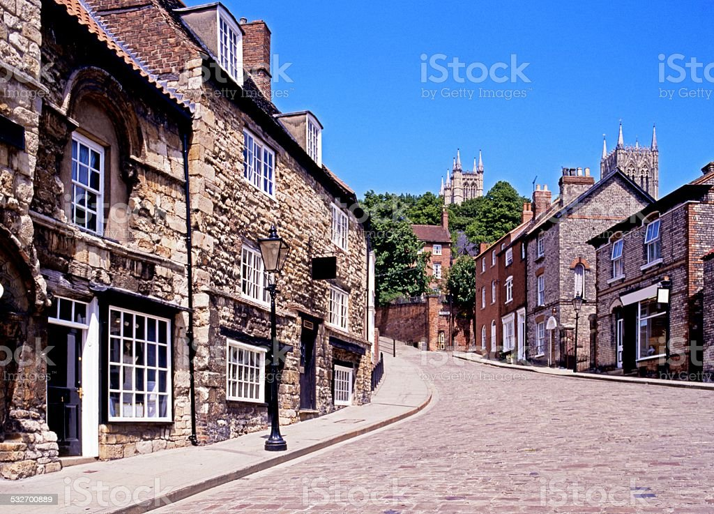 Steep Hill, Lincoln. stock photo