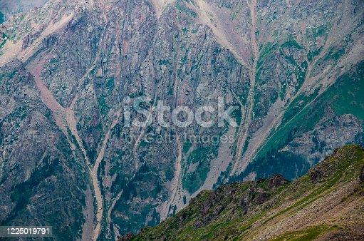 steep rocky mountainside with fog