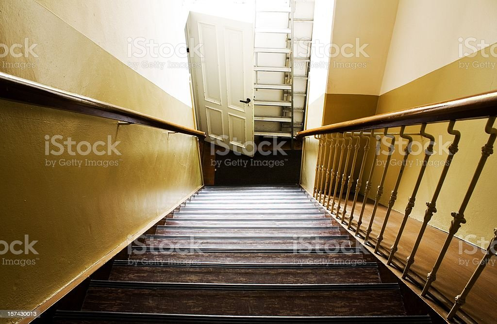 Steep stairway stock photo