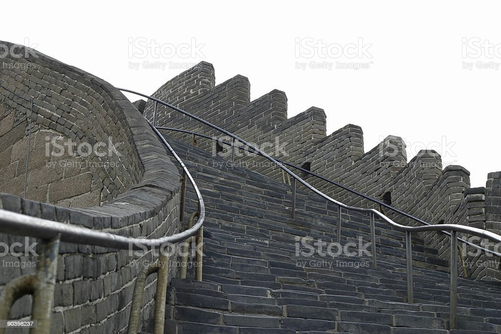 Steep Stairway Up  -  The Great Wall  in  Beijing, China stock photo