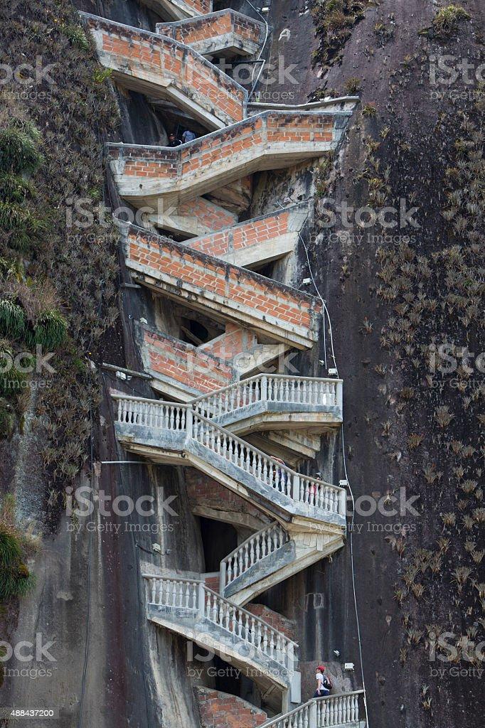 Steep steps rising up Guatape Rock, the Piedra el Penol stock photo