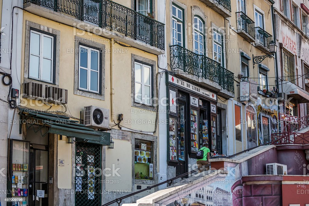 Steep street, Bairro Alto, Lisbon, Portugal stock photo