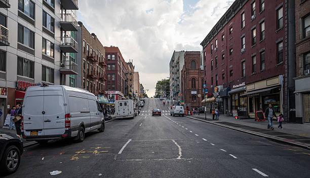Steep street in Spanish Harlem, New York City, United States stock photo