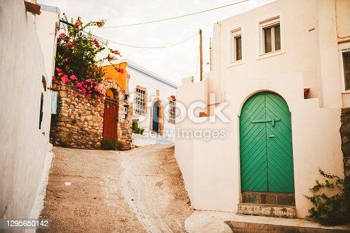 istock Steep Street of Lachania, Rhodes island 1295650142