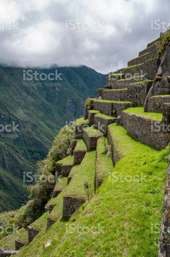 Steep Terraced Field At Machu Picchu In Peru stock photo