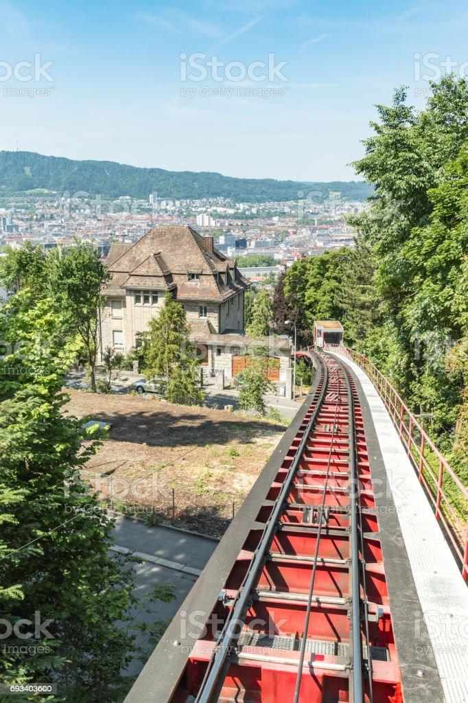 Steep tramway in Zurich stock photo