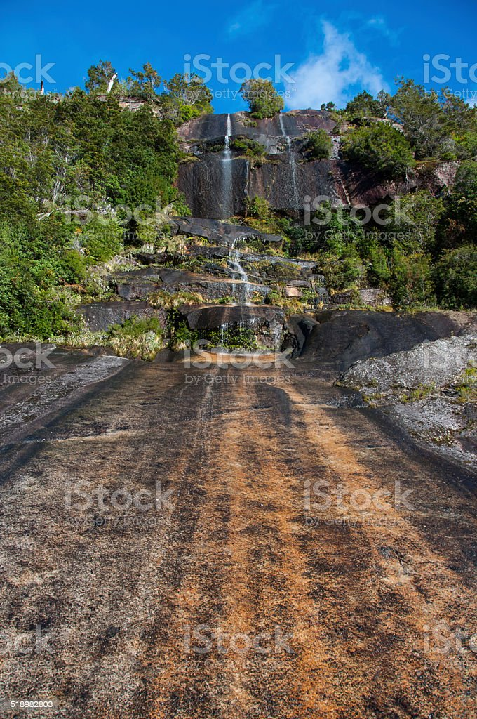 Steep waterfall in Carretera Austral, Highway 7, Chile stock photo