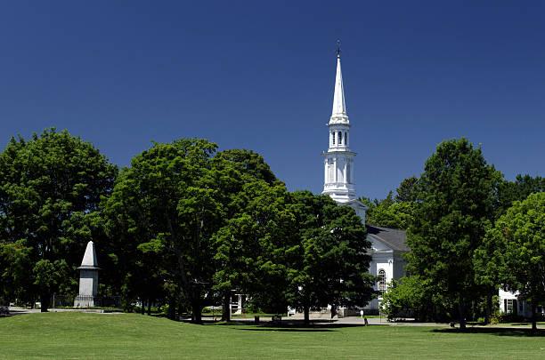 Steeple and Lexington Green, Massachusetts stock photo