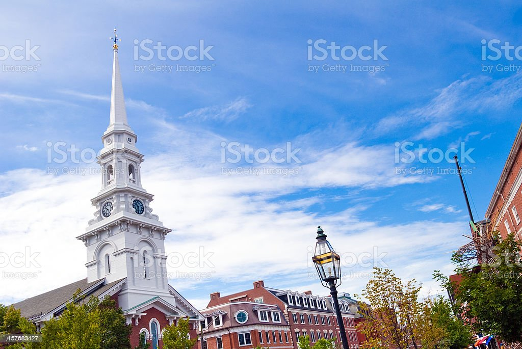 Steeple and sky at Portsmouth, New Hampshire royalty-free stock photo