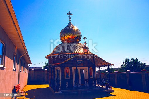 istock Steeple in the church yard 1284834211