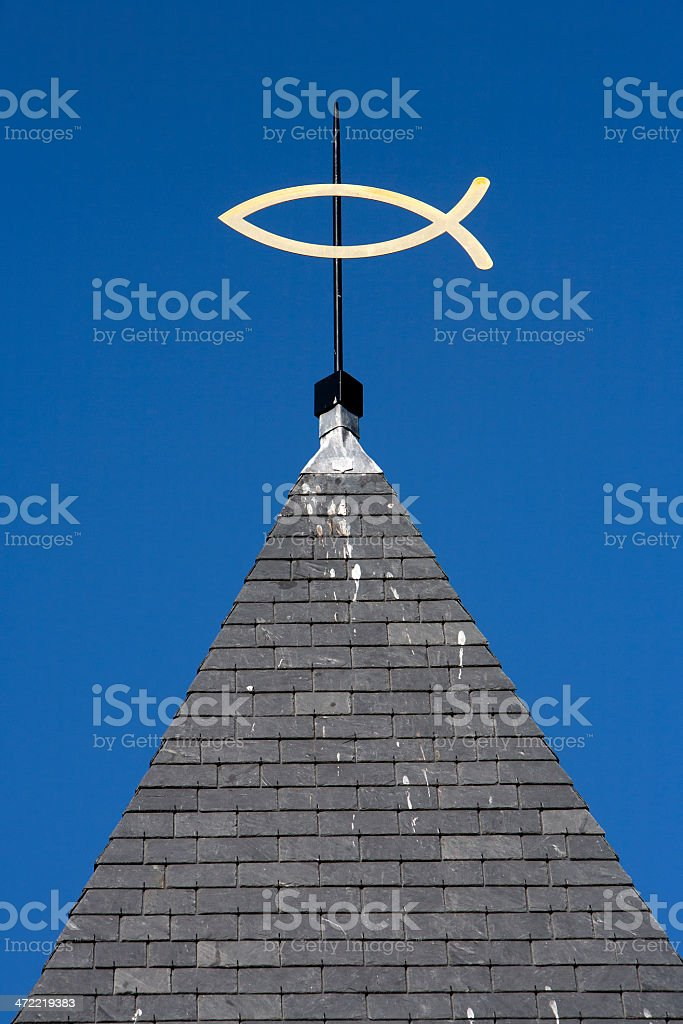 steeple with ichthus stock photo