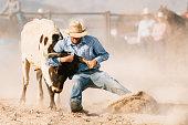 Cowboys Steer Wrestling at Rodeo Arena