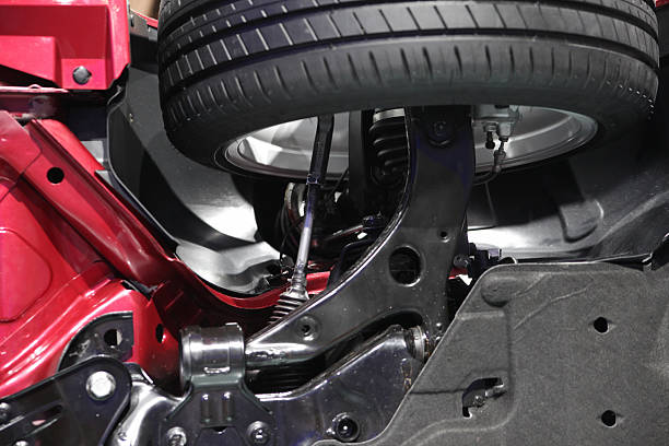 Steering and front wheels from car from below stock photo