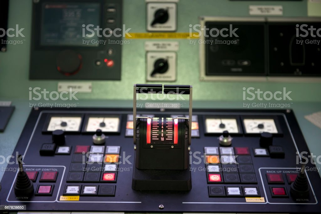 steering control  in tanker ship. stock photo