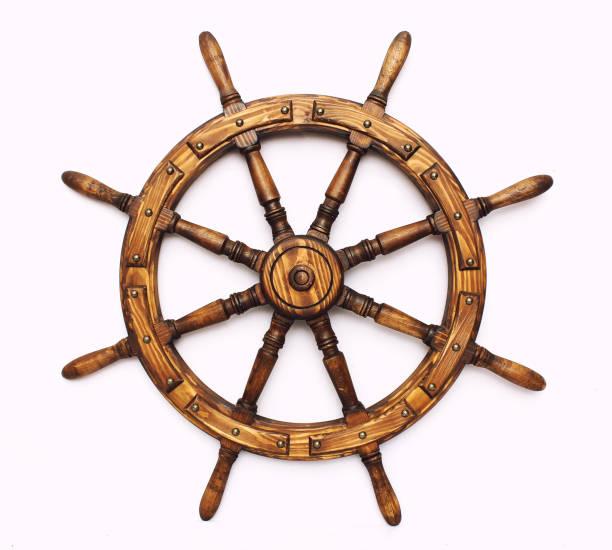 steering hand wheel ship on white background - ster fragment pojazdu zdjęcia i obrazy z banku zdjęć
