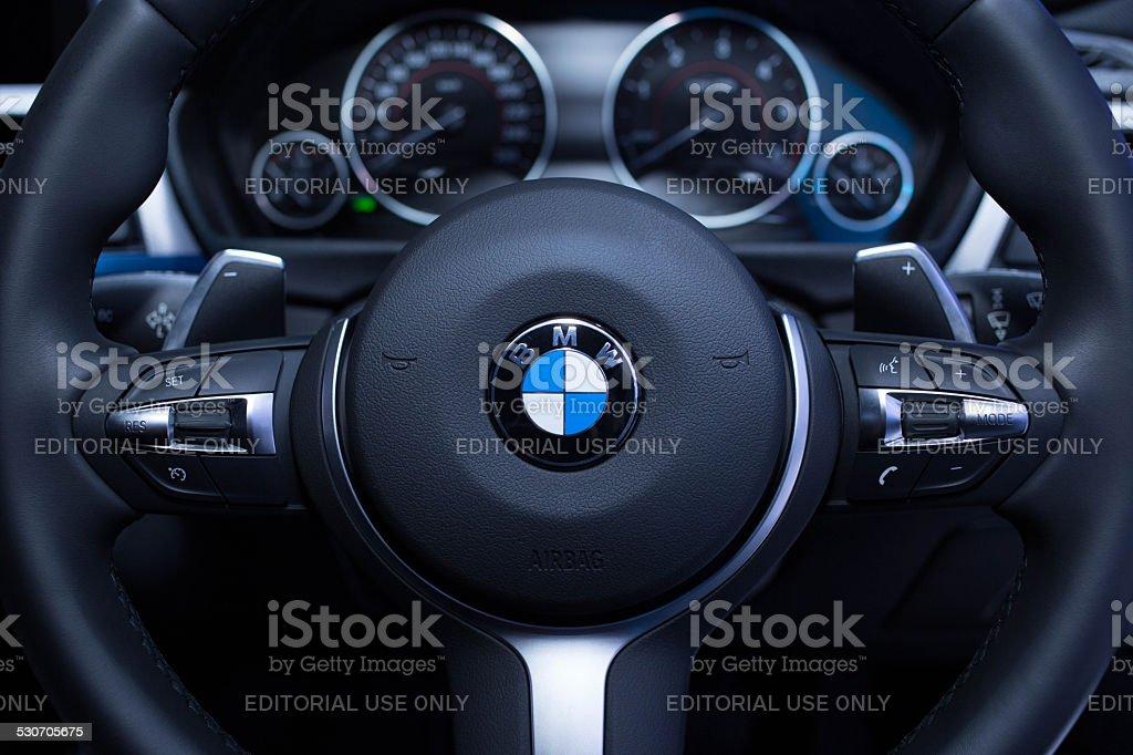 Steering of BMW Bangkok, Thailand - March 26, 2014: Steering of BMW at The 35th Bangkok International Motor Show in Bangkok, Thailand on March 26, 2014 2015 Stock Photo