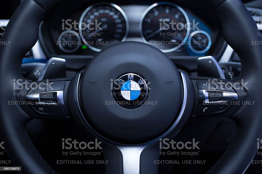 Steering of BMW stock photo