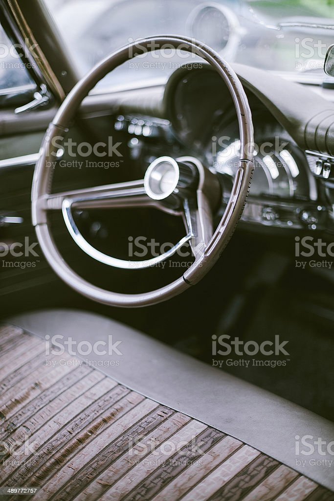 Steering Wheel and Dashboard Interior of Vintage Car stock photo