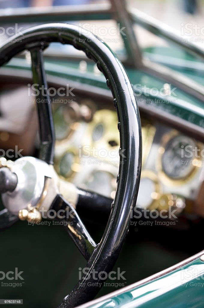 Steering wheel and dashboard of vintage car royalty-free stock photo