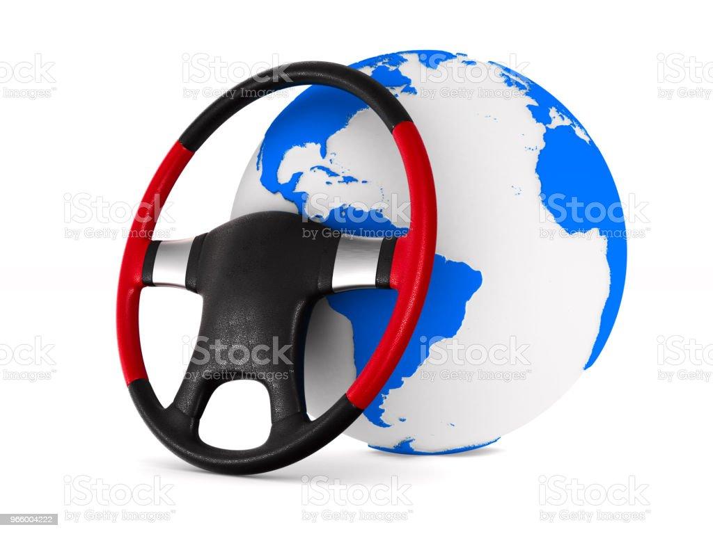 Stuurwiel en globe op witte achtergrond. Geïsoleerde 3D illustratie - Royalty-free Airbag Stockfoto
