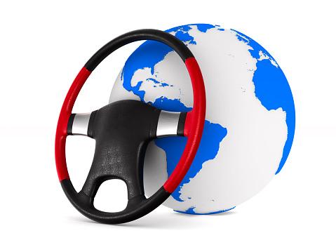 Stuurwiel En Globe Op Witte Achtergrond Geïsoleerde 3d Illustratie Stockfoto en meer beelden van Airbag