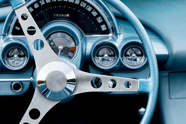 steering wheel and interior of a classic car. - oldtimer veranstaltungen stock-fotos und bilder