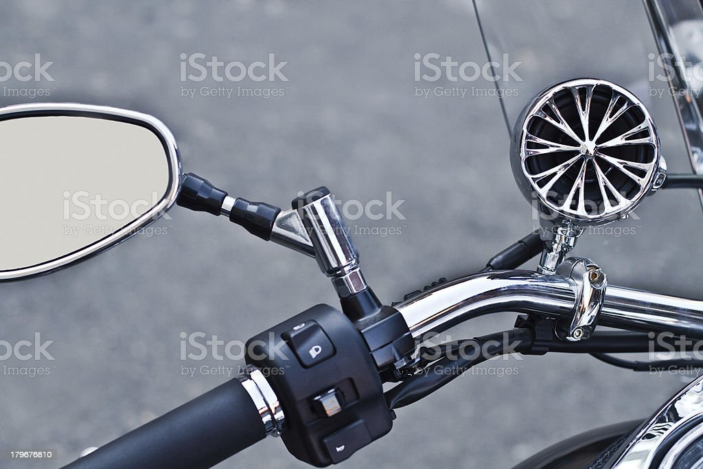 Steering wheel and rearview mirror royalty-free stock photo