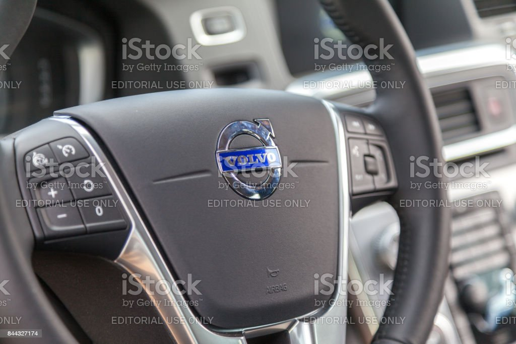 Rostock  / Germany - August 12, 2017: steering wheel in a Volvo cockpit on public event hanse sail stock photo