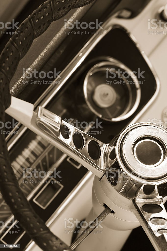 Steering wheel in Sepia royalty-free stock photo