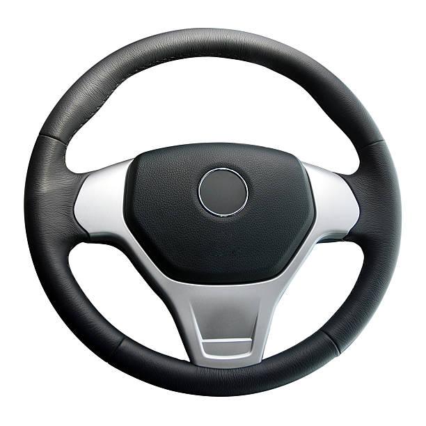 steering wheel isolated on white stock photo