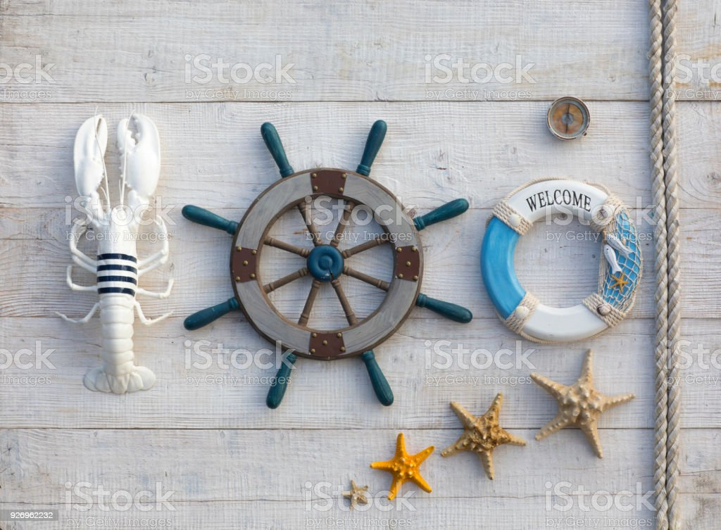 Steering Wheel Marine Concept On A Wooden Table Stock Photo Download Image Now Istock