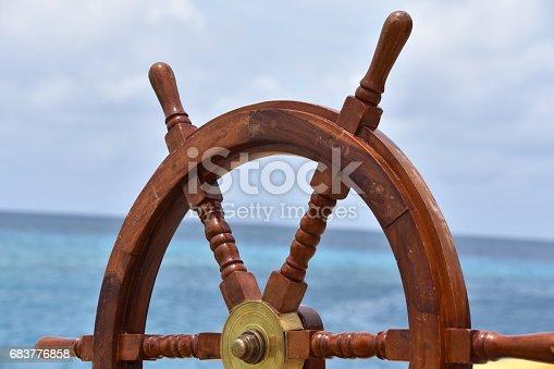 steering wheel of a ship
