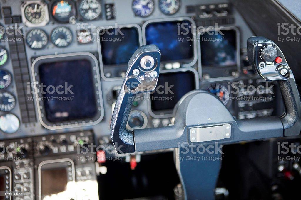 Steering wheel of airplane inside cockpit royalty-free stock photo