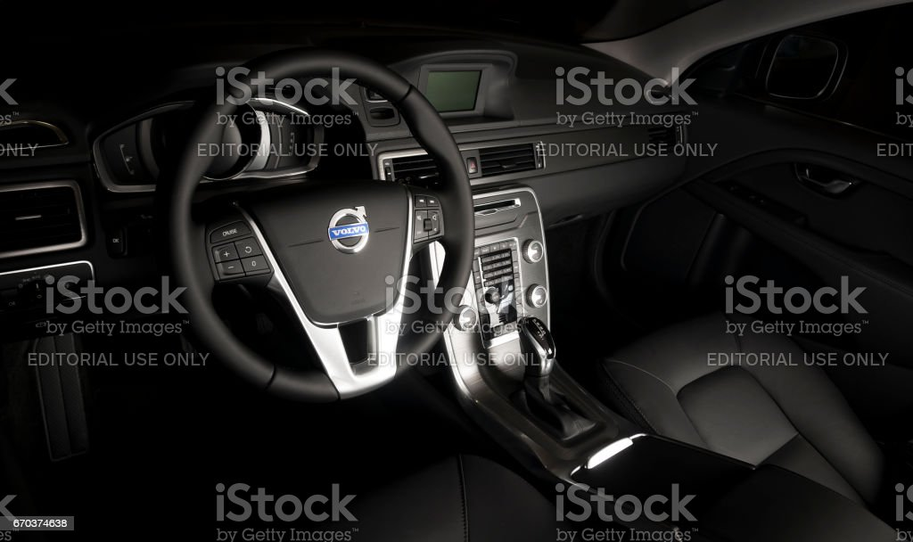Steering wheel of the modern car Volvo XC60 stock photo