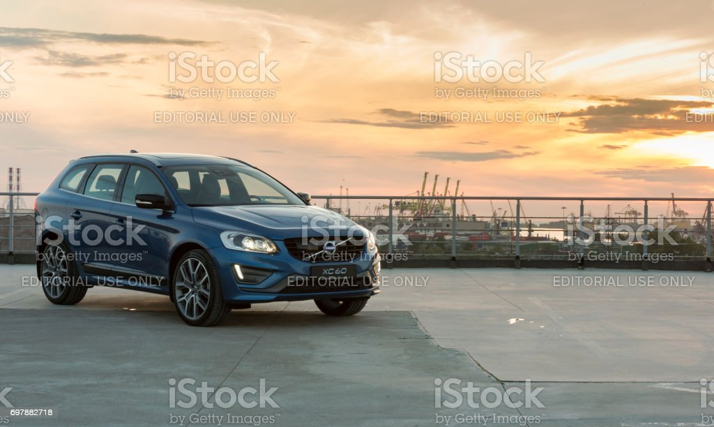 Steering wheel of the modern car Volvo XC60 R-Design Edition stock photo