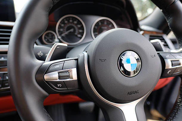 Steering wheel view of a BMW sports coupe model stock photo