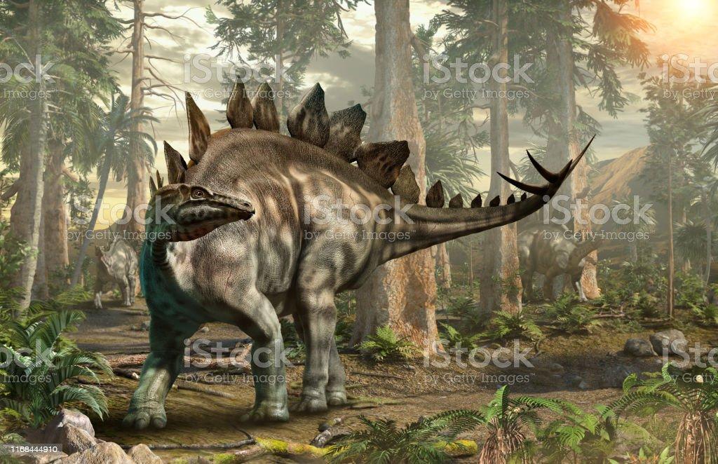 Stegosaurus forest scene 3D illustration Stegosaurus forest scene 3D illustration Digitally Generated Image Stock Photo