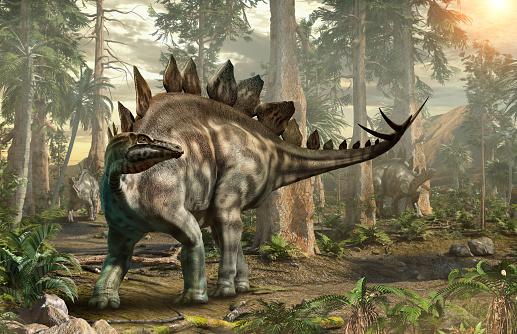 Stegosaurus Forest Scene 3d Illustration Stock Photo - Download Image Now