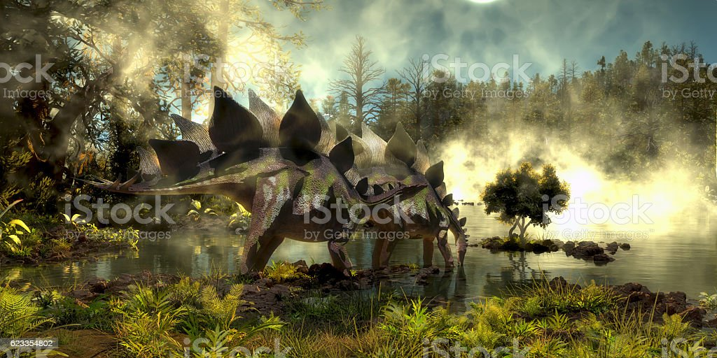 Stegosaurus in Swamp stock photo